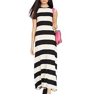 Ralph Lauren Black & Sand Striped Maxi Dress
